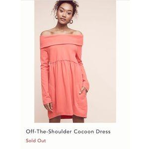 Anthropologie Pink/Red Off-Shoulder Dress